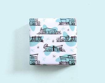 Retro Ranch Gift Wrap / Mid Century House / MCM House / Atomic Gift Wrap / Cute Wrapping Paper