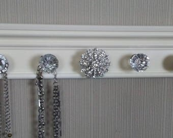 U CHOOSE 5,7 or 9 KNOBS Wall jewelry organizer Rack. This necklace holder has stunning rhinestone center knob off white decor & storage