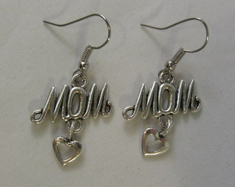 Mom with Hanging Heart Earrings
