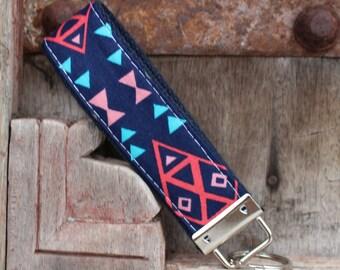 READY TO SHIP-Beautiful Key Fob/Keychain/Wristlet-Tribal On Navy