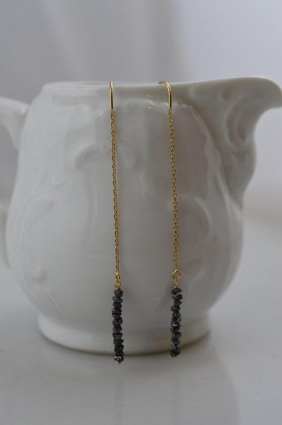 14k Gold Black Diamond Thread Earrings - Raw/Rough/Uncut Diamond Earrings