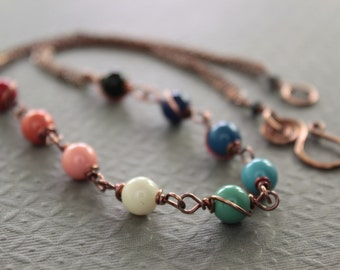 Rainbow multicolored beaded copper strand necklace with Swarovski pearls in gemstone colors - Beaded necklace - Mix colors necklace - NK003