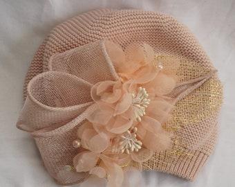 Designed Knitted beret hat