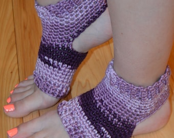 New!!!!  Shades of Purple Crocheted Yoga/Pilates/Dance/Pedicure/Flip Flop Socks (THICK-AVERAGE SIZE)