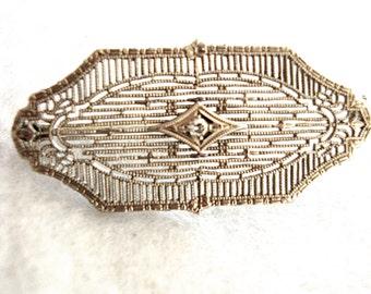 Diamond 1920's white gold pin