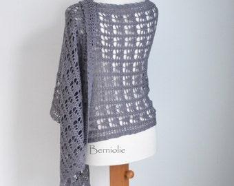 Lace crochet shawl, stole, wool, grey, gray,  M264