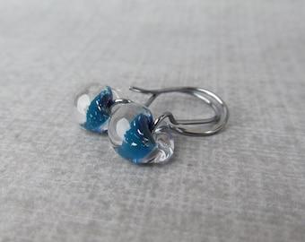 Cyan Sparkle Drop Earrings Oxidized Silver, Blue Earrings, Glass Drop Earrings Blue Glass, Sterling Silver Oxidized Earrings, Lampwork Drops
