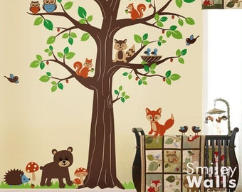 Forest Animals Tree Wall Decal Woodland Wall Decal Forest Friends Huge Tree Nursery Kids Baby Room Vinyl Wall Decal Art Set