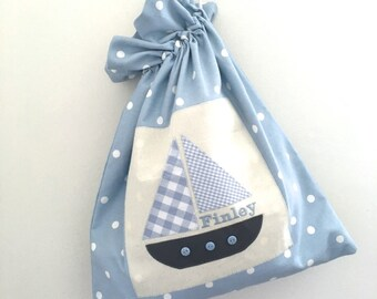 Personalised Boat Drawstring Bag