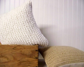 free shipping - knit pillow ivory - linen - snow - winter white - cozy - sweater pillow