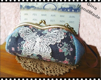 Butterfly and Black-poppy Eyeglasses and sunglasses purse/Coin purse /// Wallet / Pouch coin purse / Kiss lock frame purse bag-GinaHandMade
