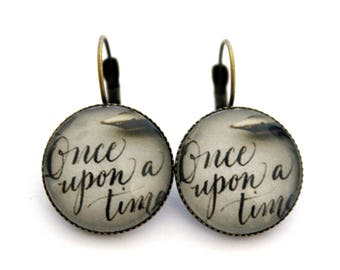 "Earrings cabochon ""once upon a time"" 20mm"