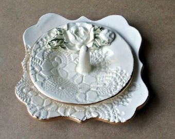 OFF WHITE Ceramic Ring Holder with Trinket Dish Set  Engagement Ring Holder white lace with Gold edging