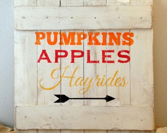 Made to Order Distressed Wooden Fall / Autumn Rustic Sign - Handmade Seasonal Wall Decor - Rustic Reclaimed Wood
