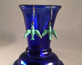 Blue green patina brass native bird earrings. Verdigris bird earrings. Green bird in flight earrings. Hand patina native style bird earrings