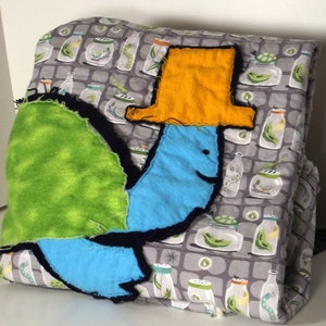 Cuddly Turtle Baby Quilt, Folk Art Baby Blanket, Michael Miller Backyard  Baby Fabric