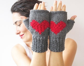 Christmas Gift Fingerless Gloves - Dark Gray - Red