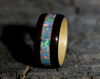 Bentwood ebony ring   opal wooden ring   wood wedding band   wood inlay ring   opal jewelry   opal ring   maple liner and opal inlay