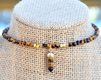 Beaded Tiger's Eye Bullet Choker, Choker Necklace