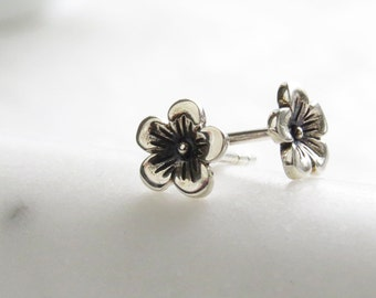 Tiny Cherry Blossom Studs • Petite Flowers • Small Flower Posts • Simple Minimal Earrings • Sterling Silver Flowers • Stud Earrings