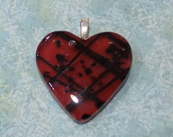 Red Heart Pendant, Red Necklace Slide, Handmade Fused Glass Heart Jewelry, Ready to Ship, Gift for Girlfriend  - Be Mine - 3957 -3