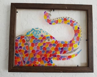 Colourful Elephant Glass Painting/Glass Art/ Hanging Art/ Framed Art/ Framed Painting/ Colourful Painting
