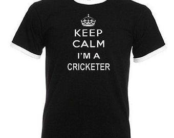 Keep calm cricketer cricket adults mens black ringer gift t shirt