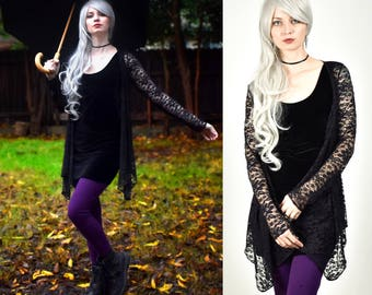 Black Lace Drape Front Sweater S M L XL 2XL sheer floral top shirt cardigan stretch goth gothic long sleeve longsleeve plus size see through