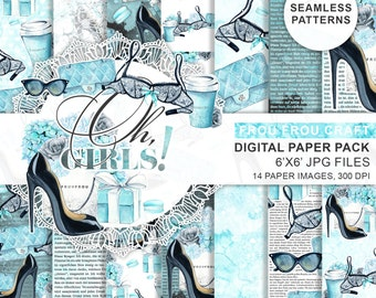 Fashion Paper Pack Digital Scrapbook Printable Background Black and Mint Blog Theme Paper Pack Girly Shoes Lingerie Chic Digital Paper