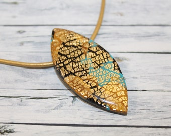 Gold, turquoise and black leaf necklace