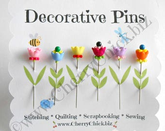 Embellishment Pins - Gift for Quilters - Decorative Pins - Sewing Pins - Fancy Pins - Scrapbooking Pins - Quilting Pins -  Pincushion Pins