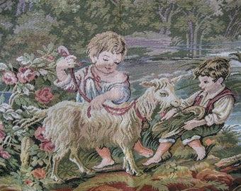 Vintage tapestry, italian children, pastoral scene