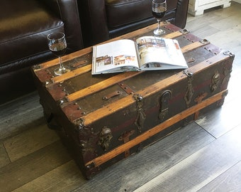 "Antique Metal and Wood Slat Steamer Trunk, Travel Trunk- Dark Green & Red ""Great for Coffee Table, Storage, Decorating"""