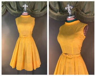 60s dress 1960s vintage Unique color CAUTION YELLOW WHITE grid check cotton fit and flare full skirt dress
