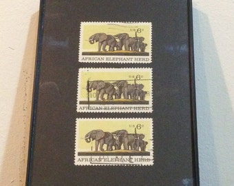 """Elephant - Recycled Postage Stamp Framed Art 4""""x6"""", 4x6, African Elephant, safari, elephant art, elephant gift, elephant stamps"""