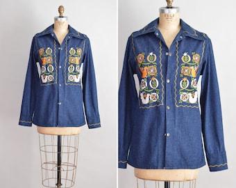 70s Denim Jacket, Embroidered Denim Shirt, Mens Shirt S, Mexican Embroidered Shirt, Vintage Jean Jacket, 1970s Hippie Top, Snap Front Shirt