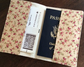 Floral Passport Cover, Fabric Passport Holder, International Travel, Passport Protector, Passport Case, Study Abroad Gift, European Vacation