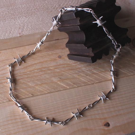 Stacheldraht Kette aus massivem Silber