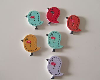 set of 6 of birds wood buttons