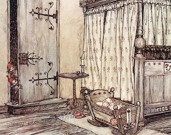 Arthur Rackham Vintage Art Print Almost Fairy Time