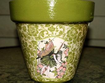 Faerie Decorative Decoupage Flower Pot