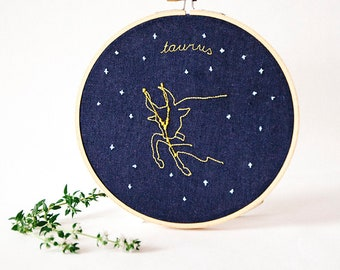 Taurus (April 20 - May 20) zodiac embroidery