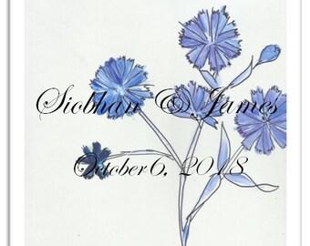 Chicory Blue Wedding Tile-Custom