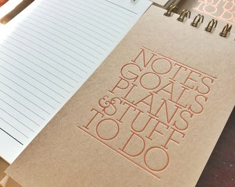 Kraft and Copper Foil Letterpress Notebook | holiday gift guide woman