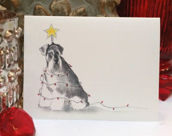 Boxed Schnauzer Holiday Cards