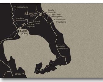 Custom Made Map for a Wedding Destination