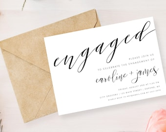"Engagement Party Invitation | We're Engaged Printable | 5"" x 7"""