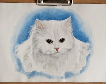 Cat portrait custom Watercolor cat portrait Original cat painting Memorial cat art Custom cat painting Custom pet portrait Cat drawing