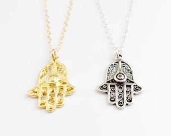 Gold HAMSA Necklace - Sterling Silver Hamsa Necklace - Hand Of Fatima