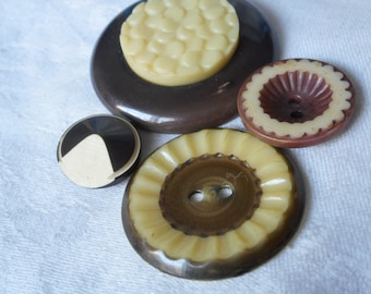 Lot of 4 VINTAGE Celluloid & BUTTONS
